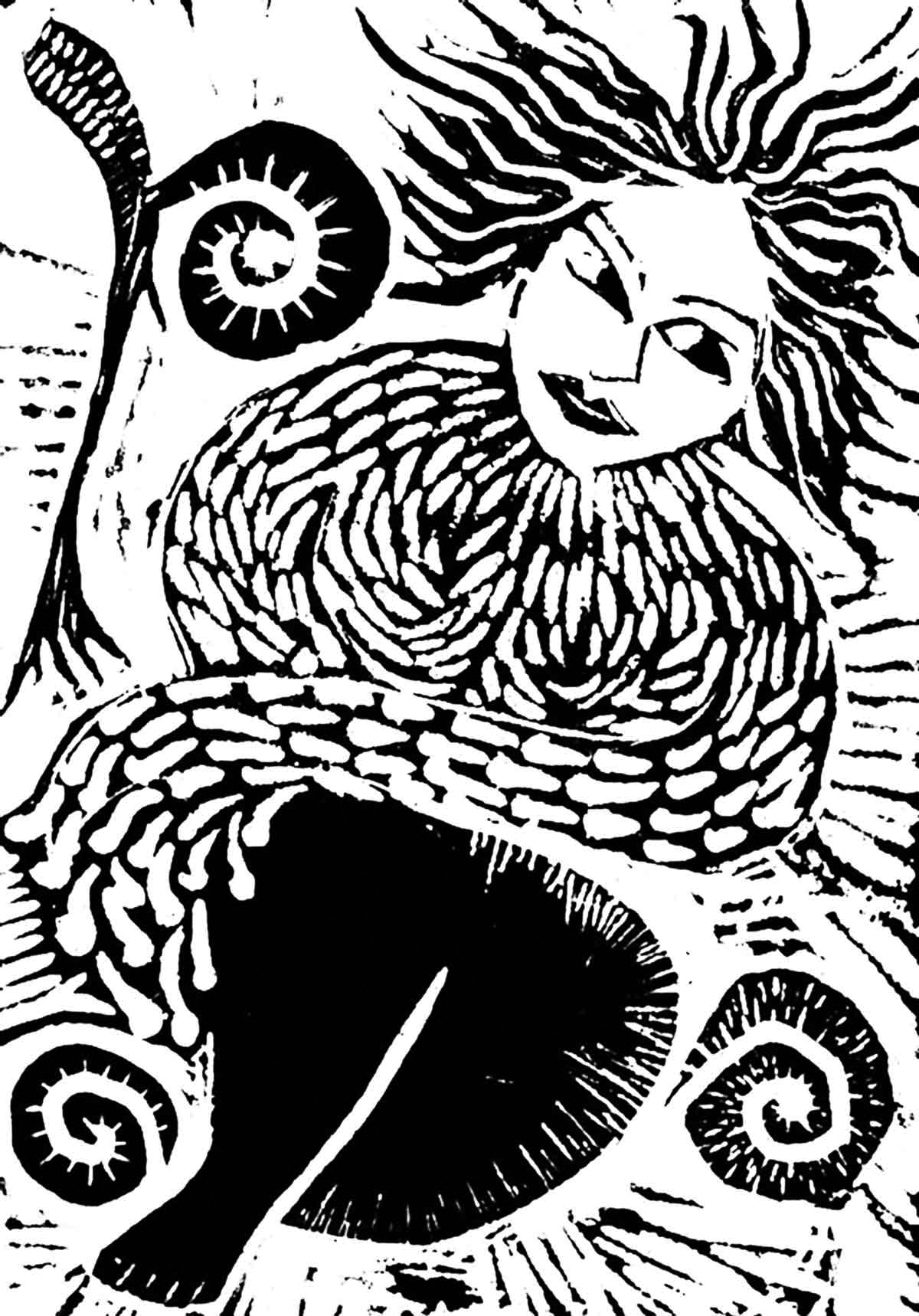 Wood nymph - woodcut