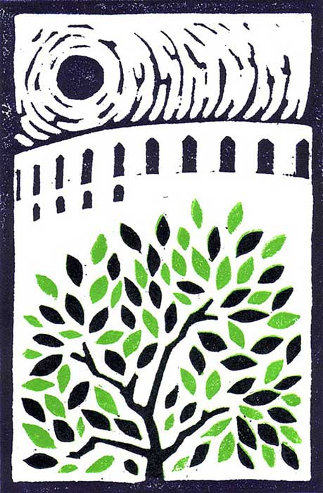 0014 Folly - linocut