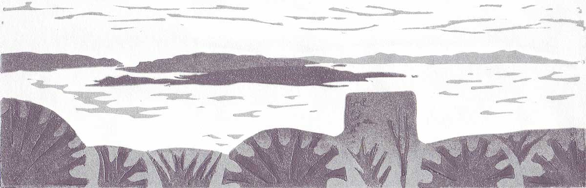 Kerrera from Dunollie - linocut
