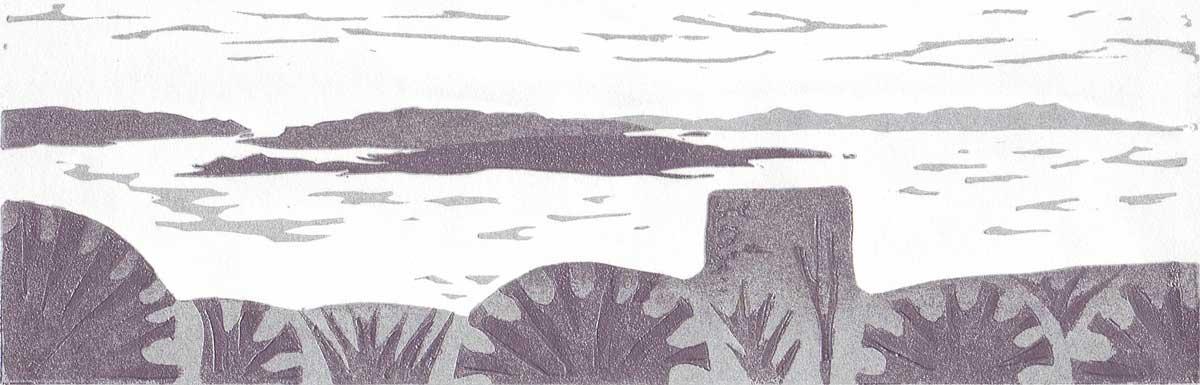 0020 Kerrera from Dunollie - linocut