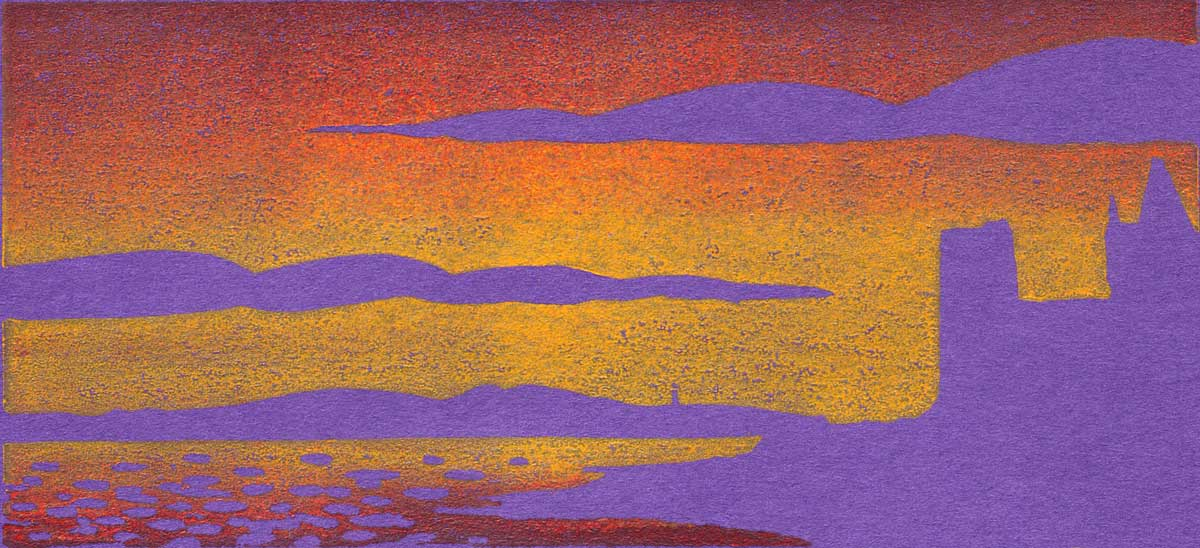 Oban sunset - linocut