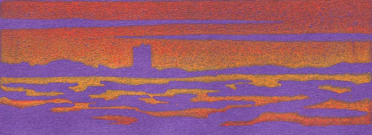 Stalker sunset - linocut