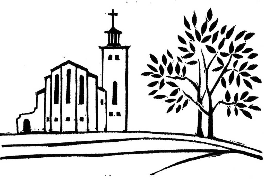 0032 Church - linocut