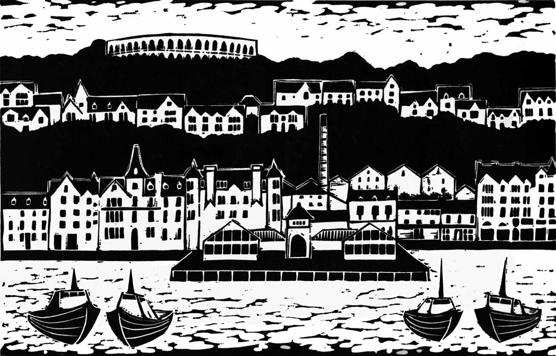 What the Victorians did for Oban - linocut