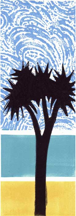 cabbage tree - relief print