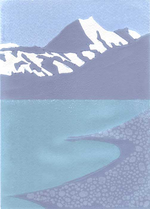 aoraki-pukaki i - relief print