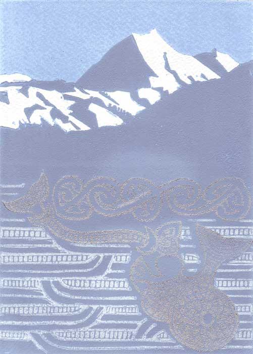 marakihau - linocut