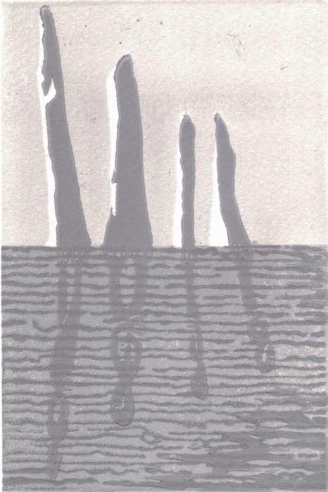 0102 Shadows - linocut