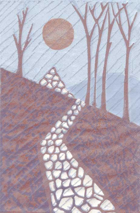 purple rain - linocut