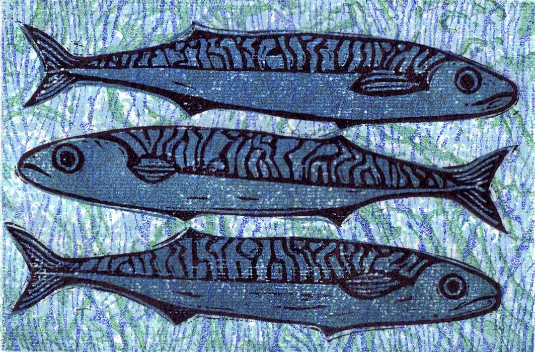 mackerel i - linocut