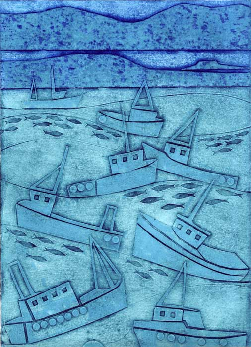 boats - collagraph