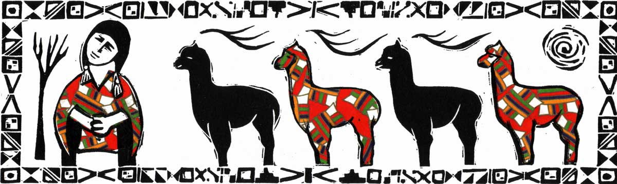 alpaca girl - linocut