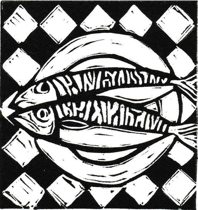 mackerel V - linocut