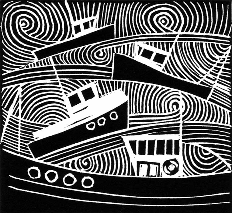0156 boats II - linocut