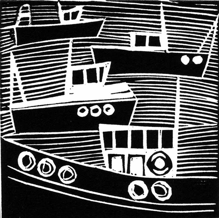 0157 boats III - linocut