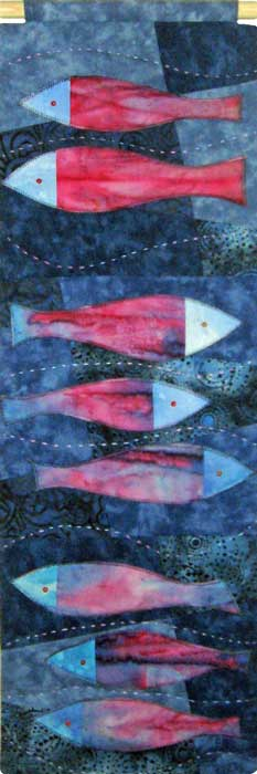 fishes ii - textile panel