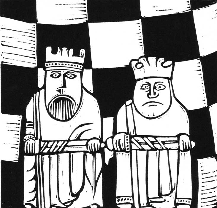 two kings - linocut