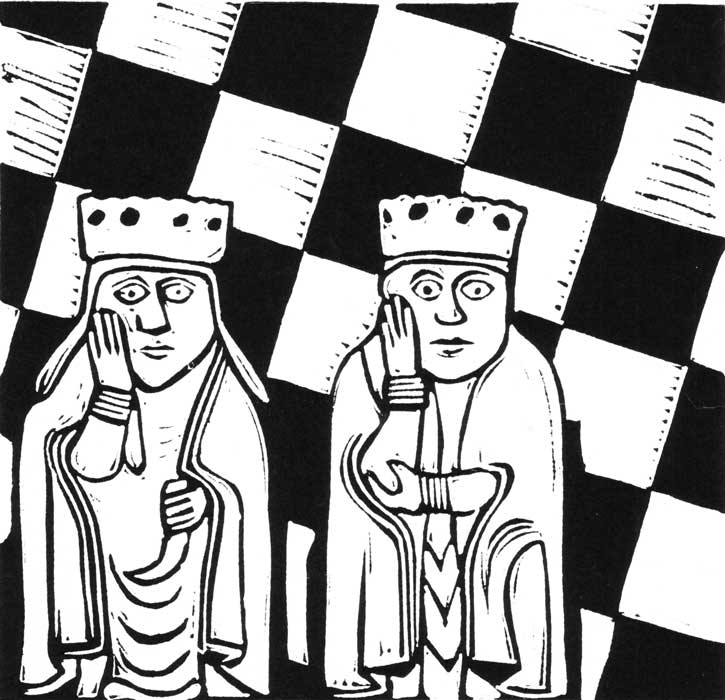 two queens - linocut