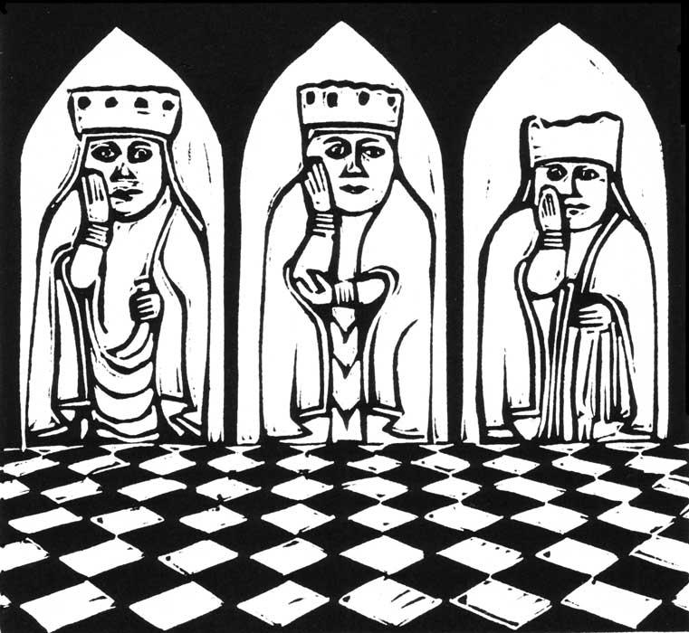 three queens linocut