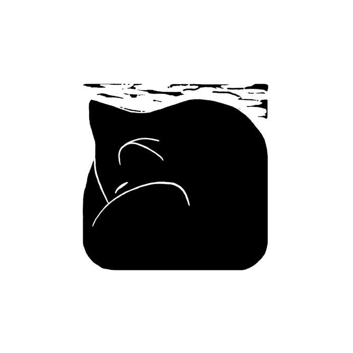 Sleeping cat II - linocut